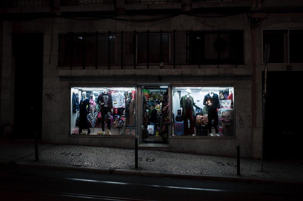 Clothing store window at night, Lisbon