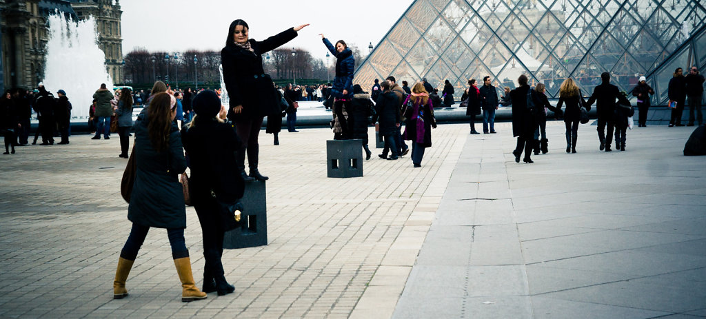 Holding the Louvre pyramid, Paris