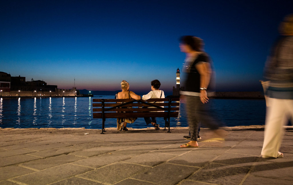 Enjoying the sunset in the port of Chania