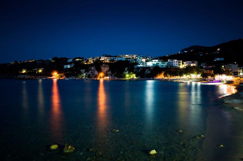 Sunset beach at night