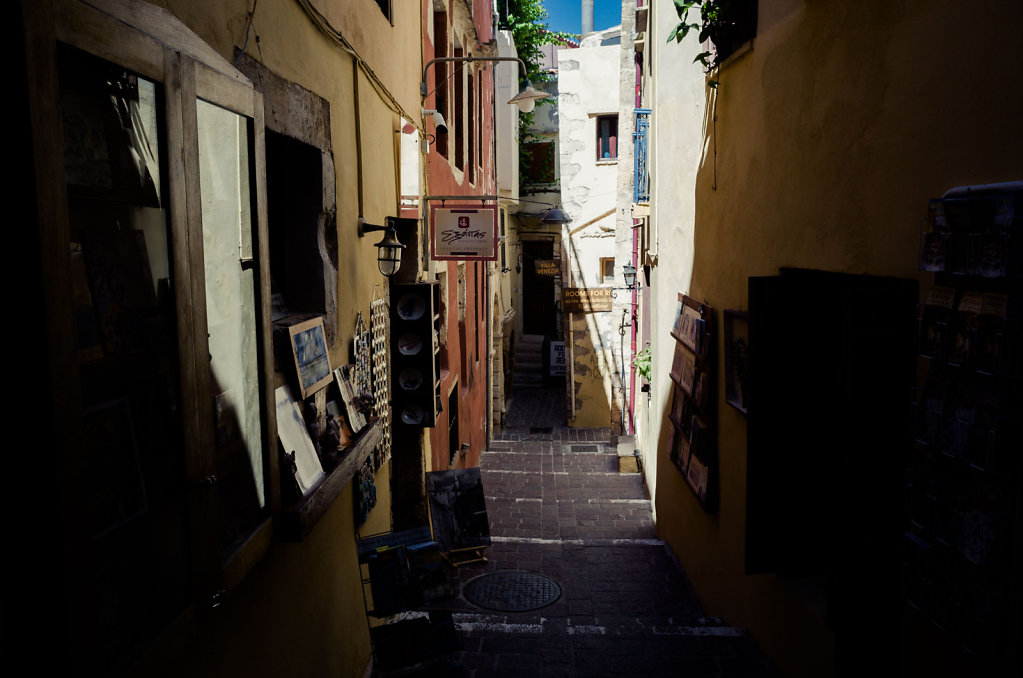 Downward street, Chania old center, Crete