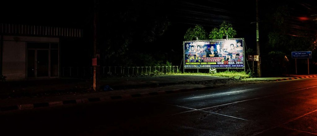 Billboard at night, Koh Samui