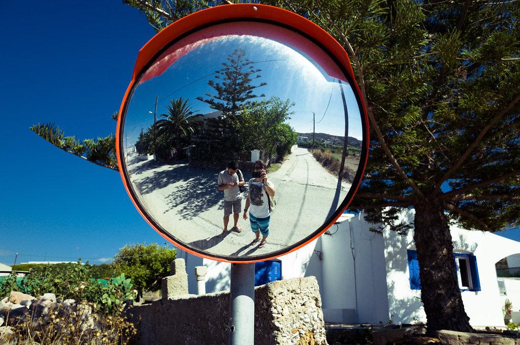 Traffic mirror selfie, Milos, Greece