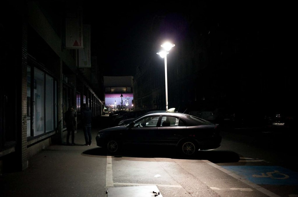 Car under streetlamp, Bucharest