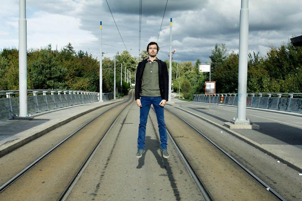 Floating over the tram tracks, Geneva