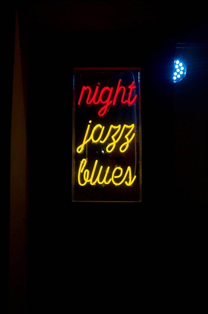 Night jazz blues neon sign