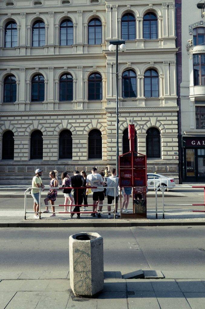 Waiting for the tram, Prague
