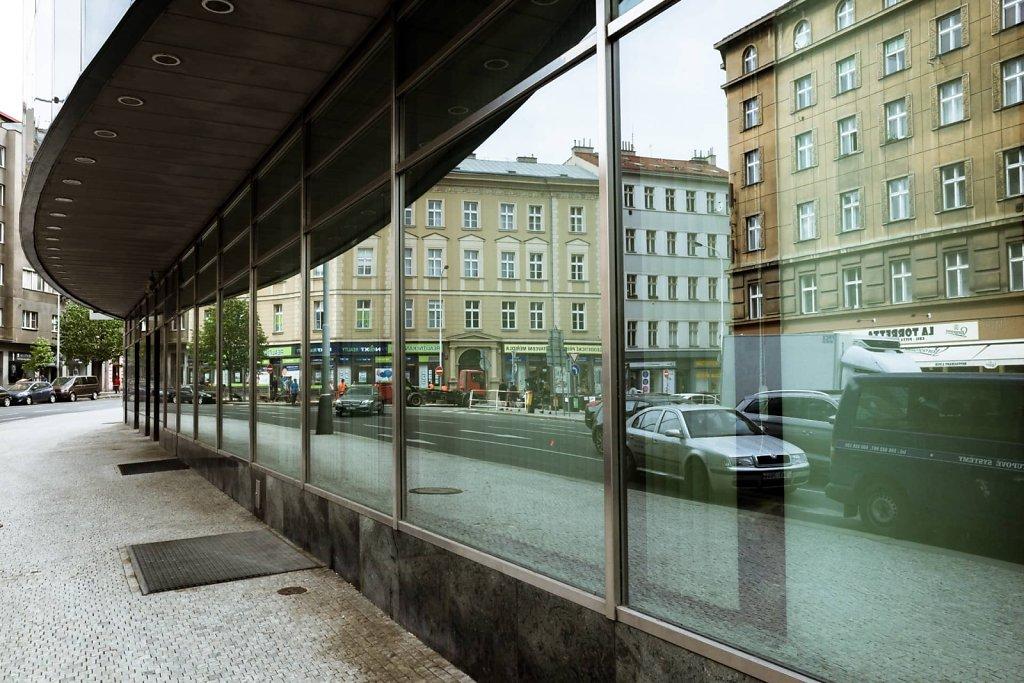 Reflected buildings, Prague