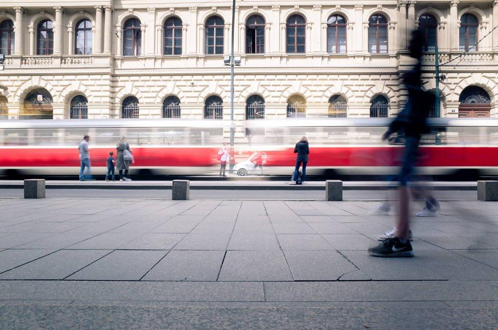 Speeding tram, Prague