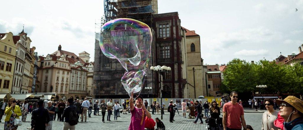 Soap bubble monster